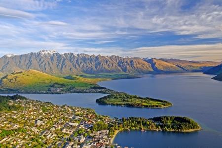 Queenstown, New Zealand from Bobs Peak Stock Photo