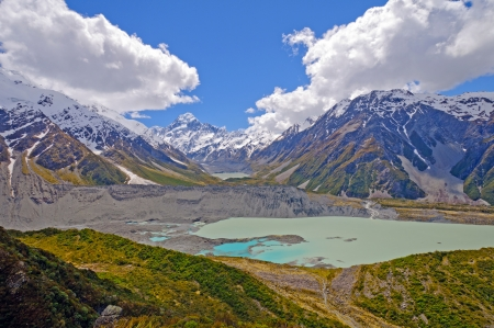 hooker: Mt Cook (Aoraki) and the Hooker Glacier and its valley Stock Photo