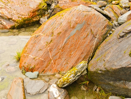erratic: Eroded rocks in the valley of the Franz Josef Glacier Stock Photo