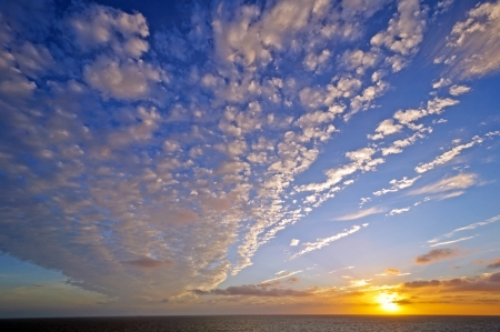 stratus: Stratus Clouds at Sunset in the English Channel in Early Fall