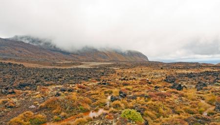 scoria: Lava Field along the Tongariro Crossing in New Zealand Stock Photo