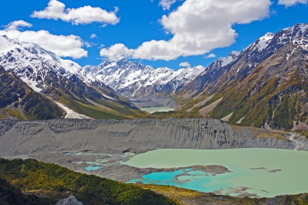 hooker: Mt Cook and the Hooker Valley in New Zealand Stock Photo