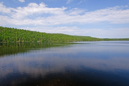 freshwater: Freshwater Pond in  Lockston Path Provincial Park in Newfoundland Stock Photo