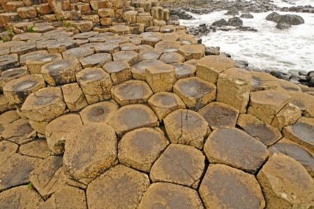 Detailed Surface view of the Giants Causeway in Northern Ireland