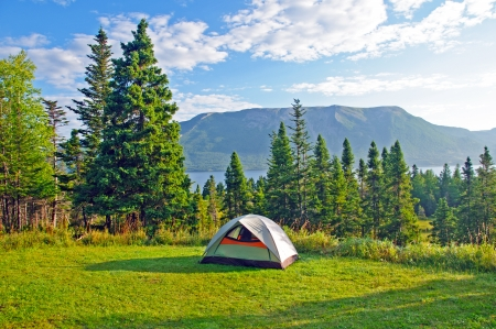 Tent in Camp in Gros Morne National Park, Newfoundland Stock Photo