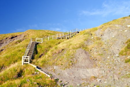 morne: Stairway on the Green Gardens Beach in Gros Morne National Park