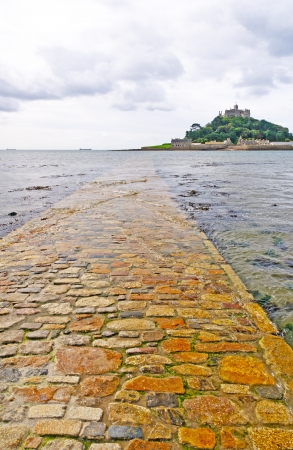 Causeway to St Michaels Mount in England photo