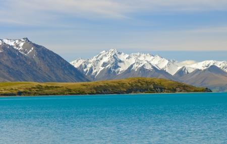 ニュージーランドのテカポ湖の近く南アルプス 写真素材