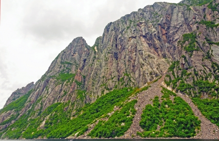 morne: Walls of the Western Brook Pond in Gros Morne National Park Stock Photo