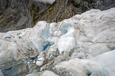 serac: Blue Ice on the Franz Josef Glacier in New Zealand Stock Photo