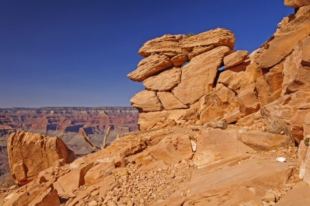 south kaibab trail: Precarious Rock formation along the South Kaibab Trail in the Grand Canyon