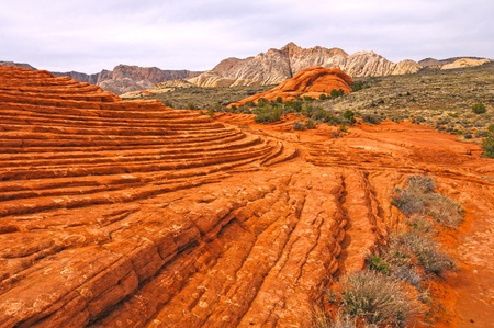 Frozen Sand Dunes in Snow Canyon State Park in Utah 写真素材