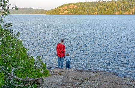 Father and Son on Winchell Lake in the Boundary Waters in Minnesota photo