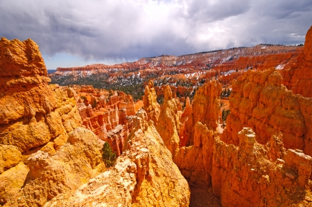 fairyland: Storm Clouds over the Fairyland section of Bryce Canyon National Park in Utah Stock Photo