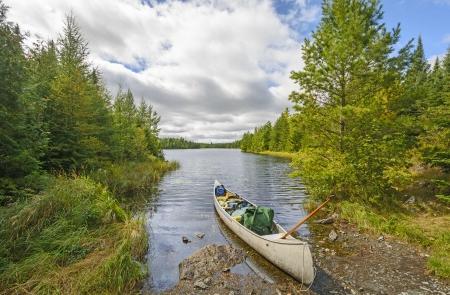 Canoe ready to go on Jenny Lake in the Boundary Waters