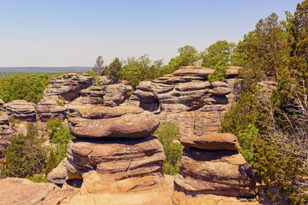 Sandstone bluffs of the Garden of the Gods in Shawnee National Forest in Illinois
