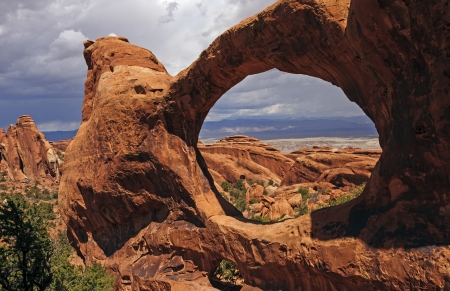 Double O Arch in Arches National Park in Utah photo