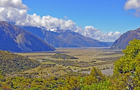 The Hooker Valley in New Zealand Viewed From the Sealy Tarns Trail photo