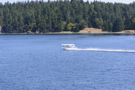 Sea Plane Taking Off Near Nanaimo, British Columbia