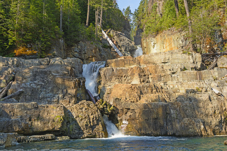 Morning Light on Lower Myra Falls in Strathcona Provincial Park in Canada Stock Photo