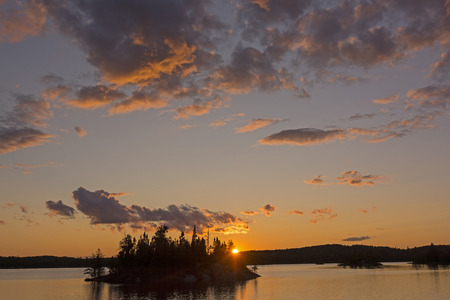 Dramatic Sunset on Saganagons Lake in Quetico Provincial Park