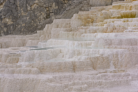 Travertine in a Hot Spring in Mammoth Hot Springs in Yellowstone photo