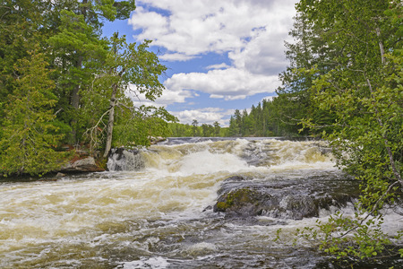 minnesota woods: Powerful Chute on the Falls Portage in Quetico Provincial Park Stock Photo
