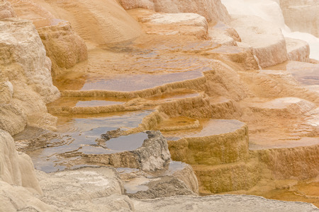 hots: Limestone Terrace in the Upper Section at Mammoth Hots Springs in Yellowstone National Park
