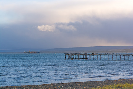 punta arenas: Evening Clouds on the Waterfront of Punta Arenas, Chile