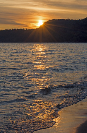 north woods: Golden Waves at Sunset on Lake Superior at Neys Provincial Park in Ontario
