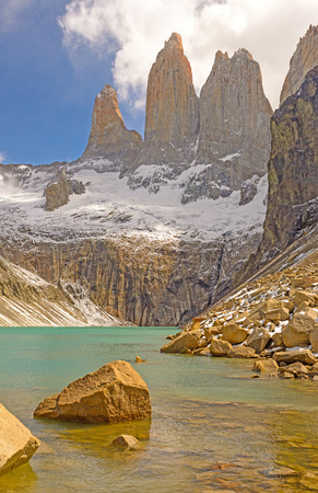 torres del paine: Torres del Paine above a glacial Lake in Chile