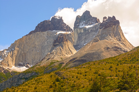 patagonian chile: Dramatic Peaks called Cuernos del Paine (Horns of Blue) in Torres del Paine National Park in Patagonian Chile.