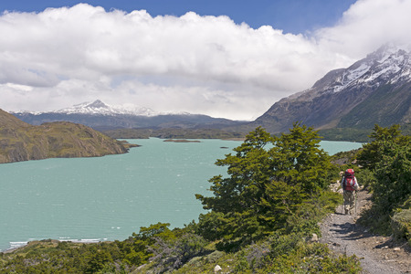 patagonian chile: Backpacker on the W- trek trail along Lake Nordernskjold in Torres del Paine National Park in Patagonian Chile