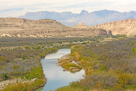 meandering: Rio Grande River meandering through a desert canyon of Big Bend National Park in Texas Stock Photo
