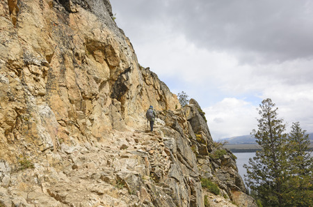 rocky point: Hiking up the Rocky Inspiration Point Trail in Grand Tetons National Park in Wyoming
