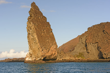 bartolome: Pinnacle Rock on the Volcanic Bartolome Island in the Galapagos in Ecuador
