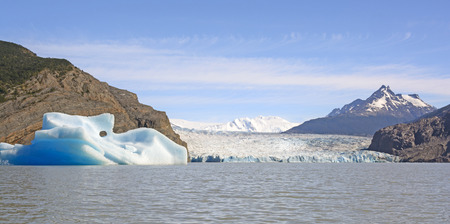 patagonian chile: Iceberg from the the Grey Glacier on Grey Lake in Torres del Paine in Patagonian Chile Stock Photo