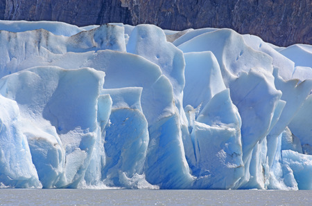 patagonian chile: Blue Ice of the Grey Glacier in Torres del Paine National Park in Patagonian Chile Stock Photo