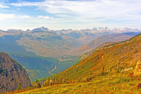 mcdonald: Looking Across the McDonald Valley in Glacier National Park in Montana on a Fall Day