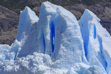 serac: Ice Window in an Icewall of a the Grey Glacier in Patagonian Chile
