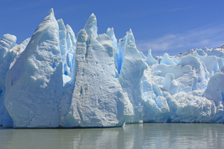 patagonian chile: Dramatic Ice Formations at the Toe of a the Grey Glacier in Patagonian Chile