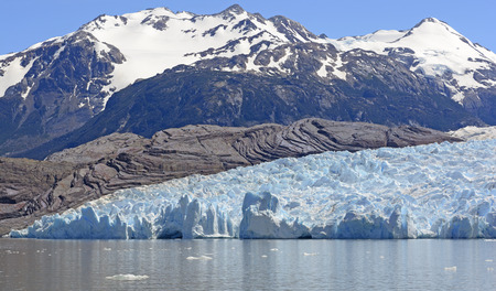 patagonian chile: Grey Glacier Coming Down From the Patagonian Ice Field in Torres del Paine National Park in Patagonian Chile