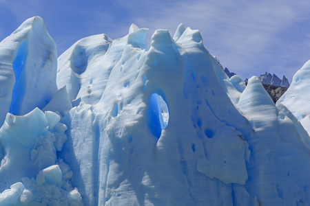 patagonian chile: Window in Blue Ice on the Grey Glacier in the Patagonian Andes of Chile Stock Photo
