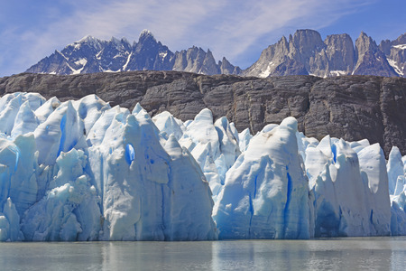 patagonian chile: Ice, Rocks, and Mountains by the Grey Glacier in Torres del Paine National park in Patagonian, Chile