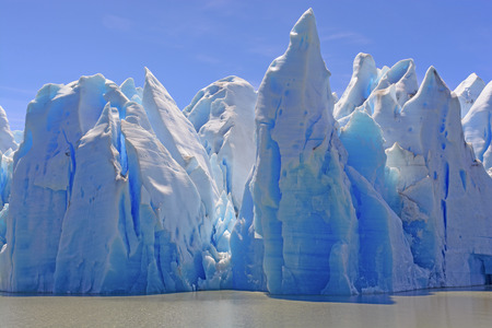 serac: Ice Castles on a Sunny Day at the Grey Glacier in Torres del Paine National Park in Patagonian, Chile