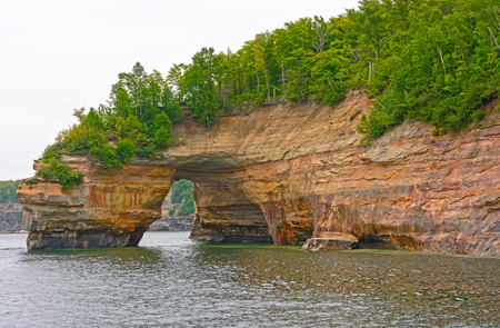 lakeshore: Sandstone Arch on Lake Superior in Pictured Rocks National Lakeshore in MIchigan