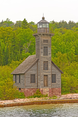 lake michigan lighthouse: Abandoned Grand Island East Channel Lighthouse Near Munising, Michigan in Lake Superior
