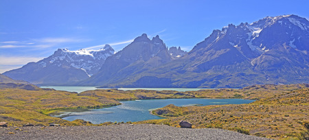 patagonian chile: Panorama of the Torres del Paine National Park in the Patagonian Andes of Chile Stock Photo