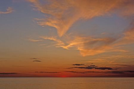 hatteras: Twilight and Clouds after Sunset on Pamlico Sound from Cape Hatteras in North Carolina Stock Photo