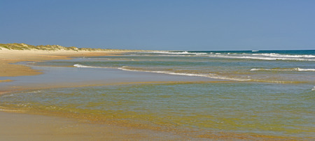 hatteras: Remote Beach Panorama on Ocracoke Island in the Barrier Island of North Carolina